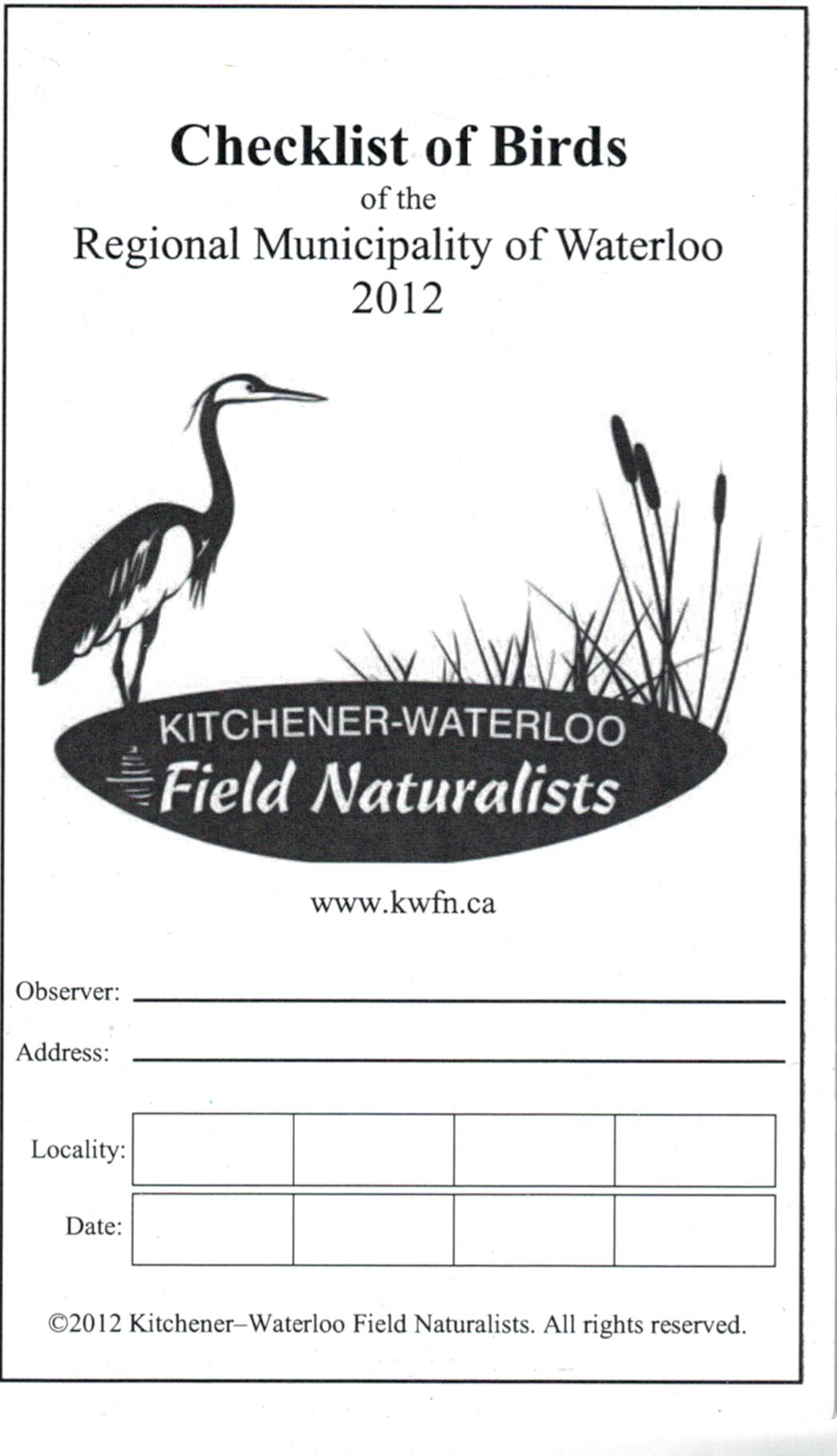 Checklist of Birds of the Regional Municipality of Waterloo 2012